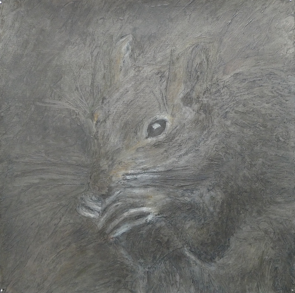 Oil painting Opportunists Fauna, Sciurus carolinensis (Eastern Gray Squirrel) by Pamela  Speight