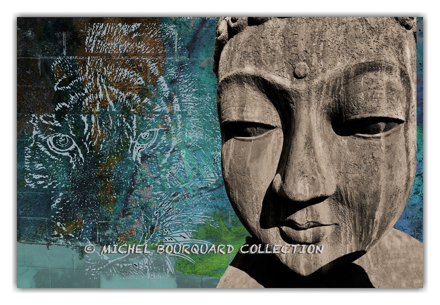 Buddha and the Phenician Lion -  Pr Canvas Frame by Michel Bourquard