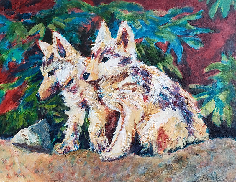 Acrylic painting Twins  by Donna Carter by Passionate Painters