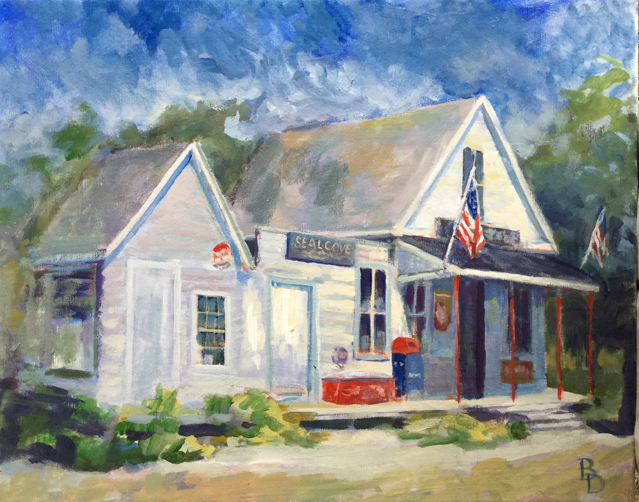 "Acrylic painting ""Seal Cove Post Office"" by Bernard Dick"
