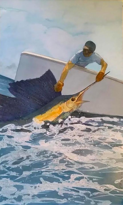 One of a three piece commission on Sailfish - 23 x 30 Acrylic on WC paper by Reed Dixon