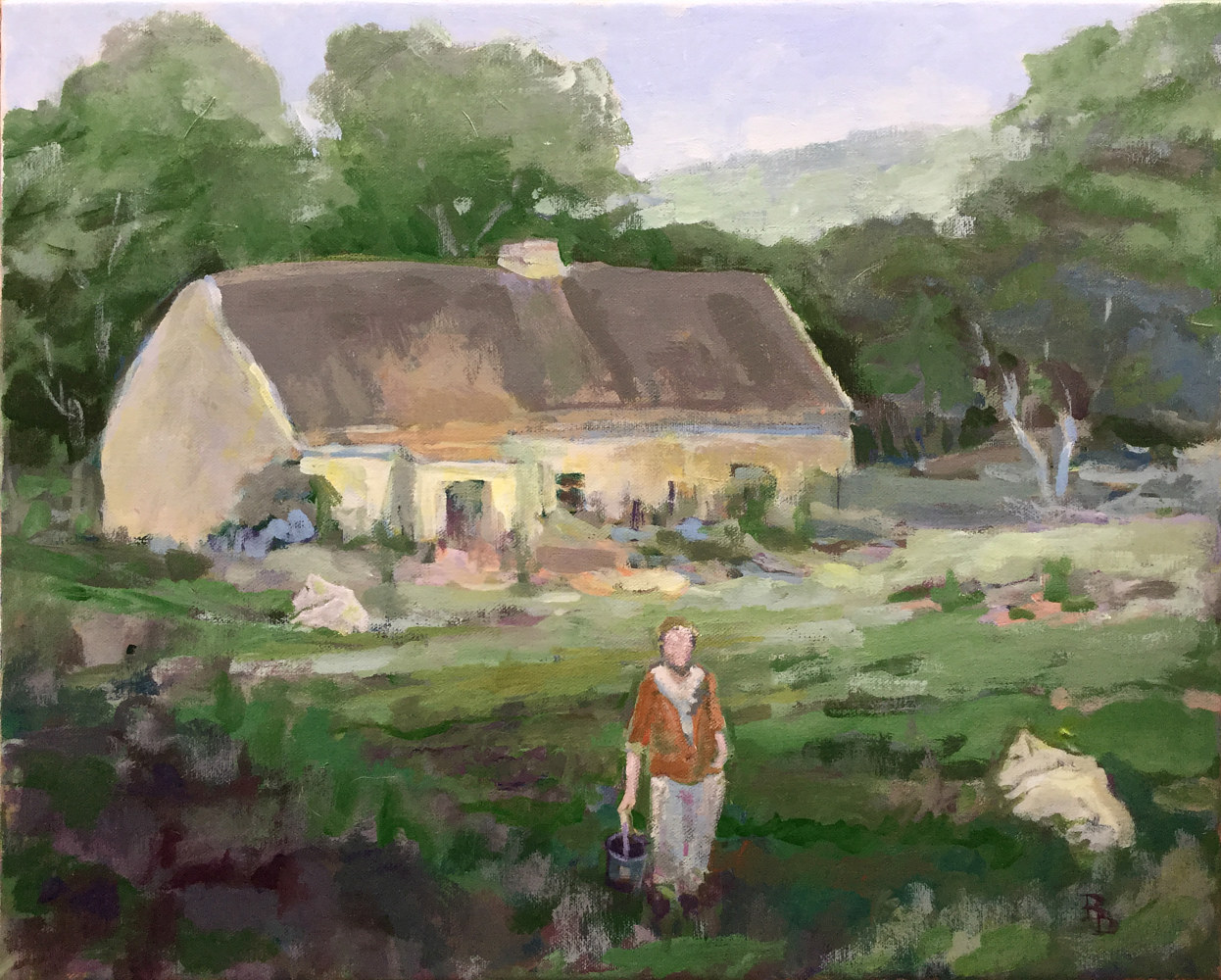 "Acrylic painting ""Margaret Gallagher's Cottage"" by Bernard Dick"