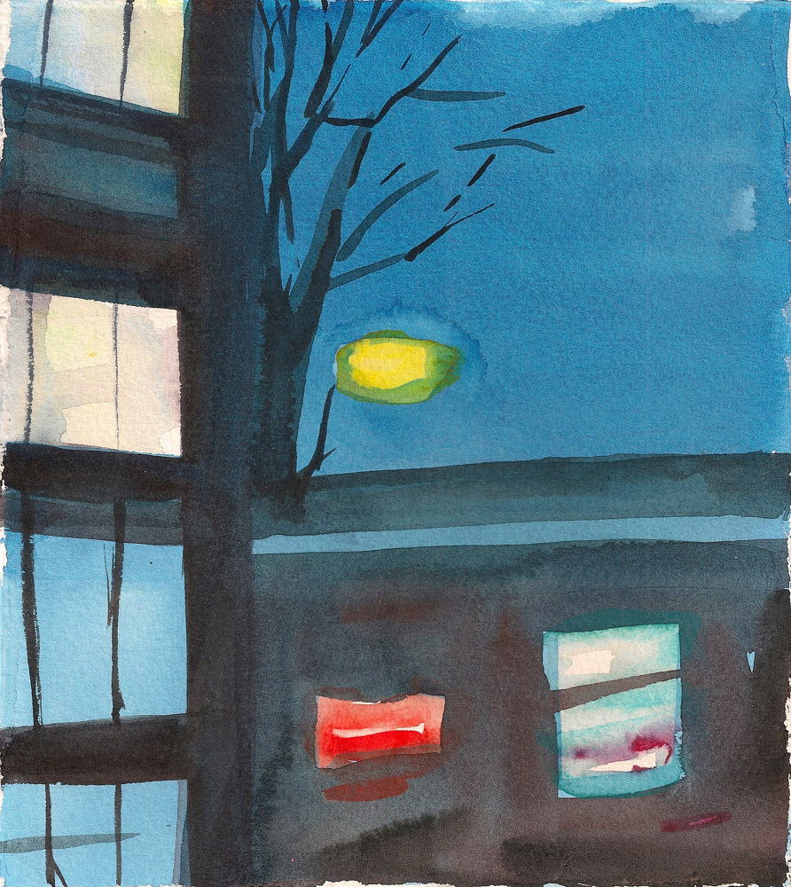 Watercolor 1.Fri., Jan 3 (Outside My Window)  by Mary Hayes