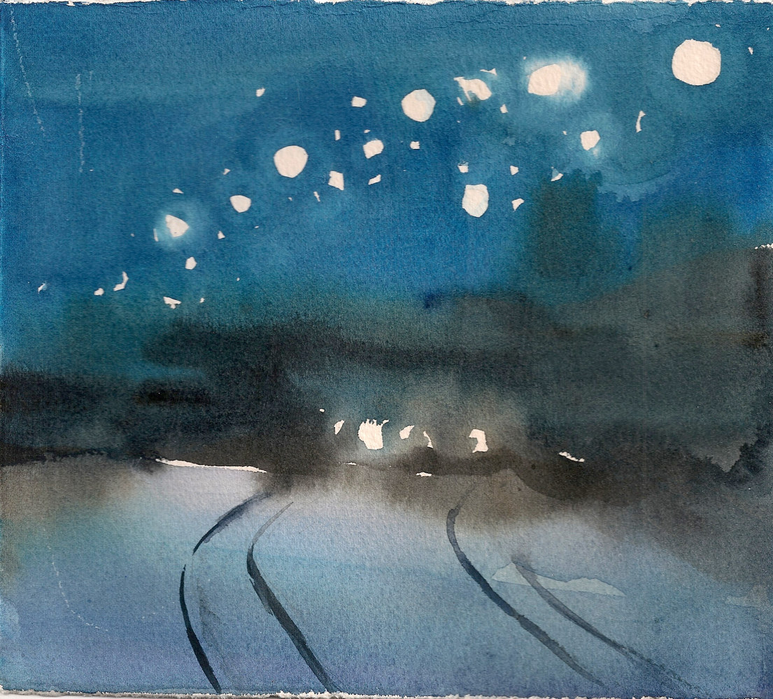 Watercolor 4. Sun. Jan 5 (Tracks) by Mary Hayes
