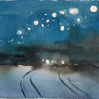 Watercolor Sun. Jan 5 (Tracks) by Mary Hayes