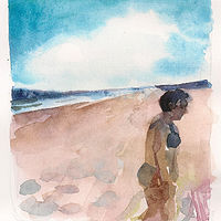Watercolor 5. Fri. Aug. 8, 2017, Maine by Mary Hayes