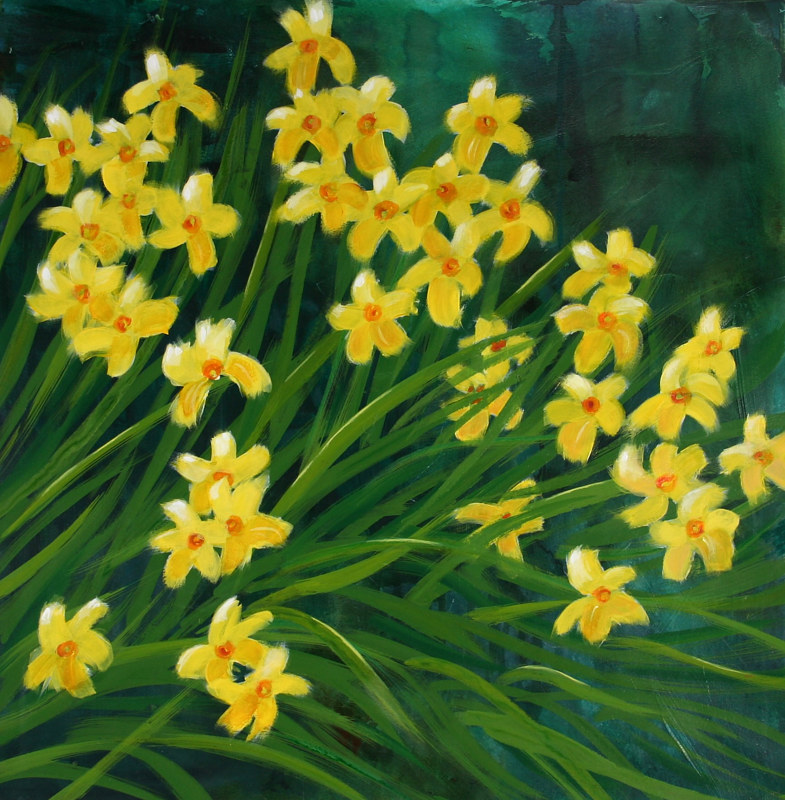 Acrylic painting  Dazzling Daffies  by Louise Hall by Passionate Painters