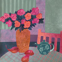 Acrylic painting Tea and Roses   by Louise Hall by Passionate Painters