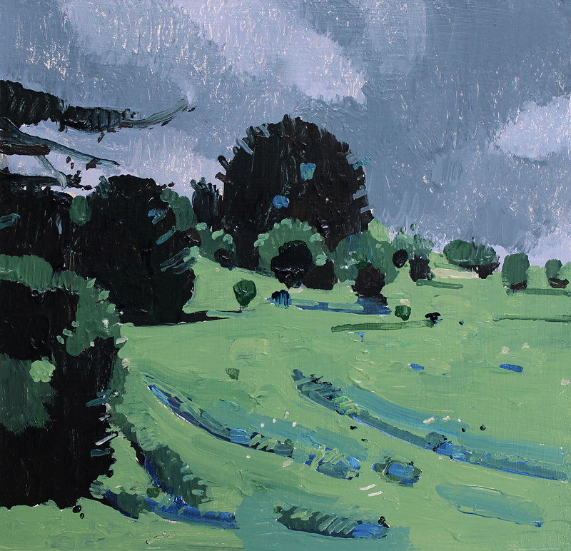 Acrylic painting Rain Hill  by Harry Stooshinoff