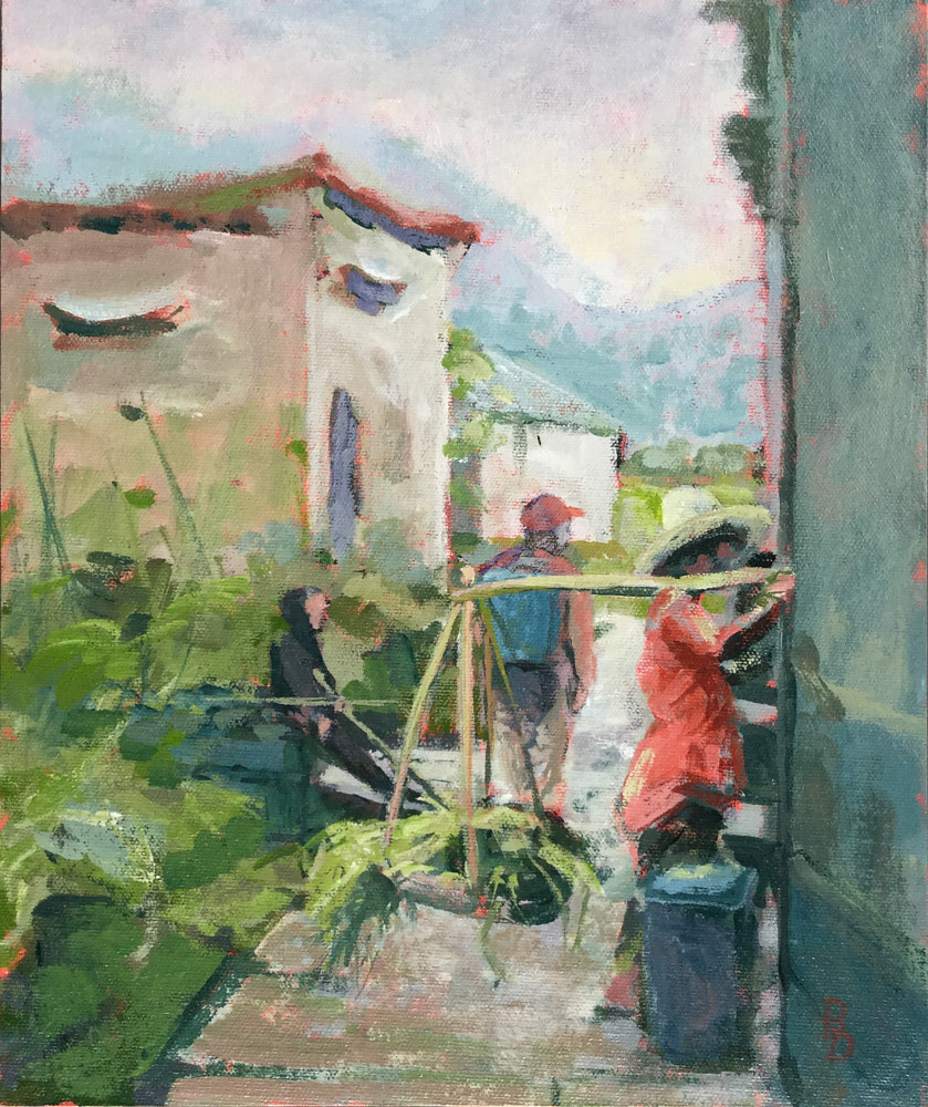 Acrylic painting China Village by Bernard Dick