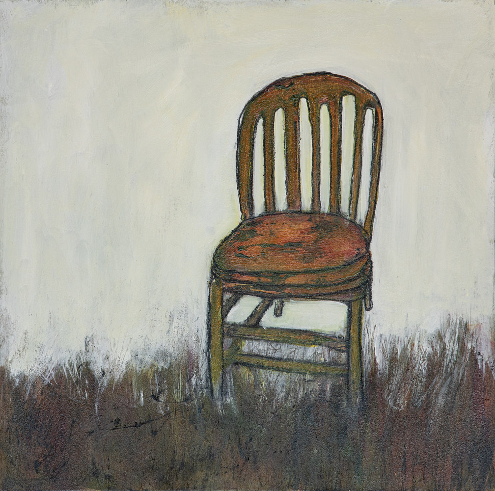 "Acrylic painting ""Social Isolation in my Chair"" by carol Ross"