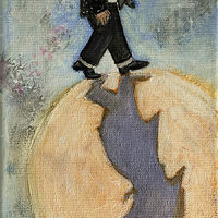 Mixed-media artwork Gnome Moon Walking2 by Eveline Wallace