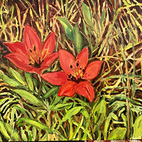 Oil painting Prairie Lilies by Edie Marshall