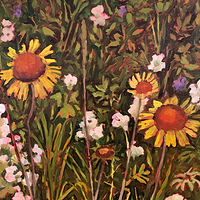 Oil painting Brown Eyed Susans  by Edie Marshall