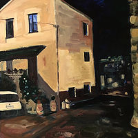 Oil painting Day 3 The House Next Door 10pm by Edie Marshall