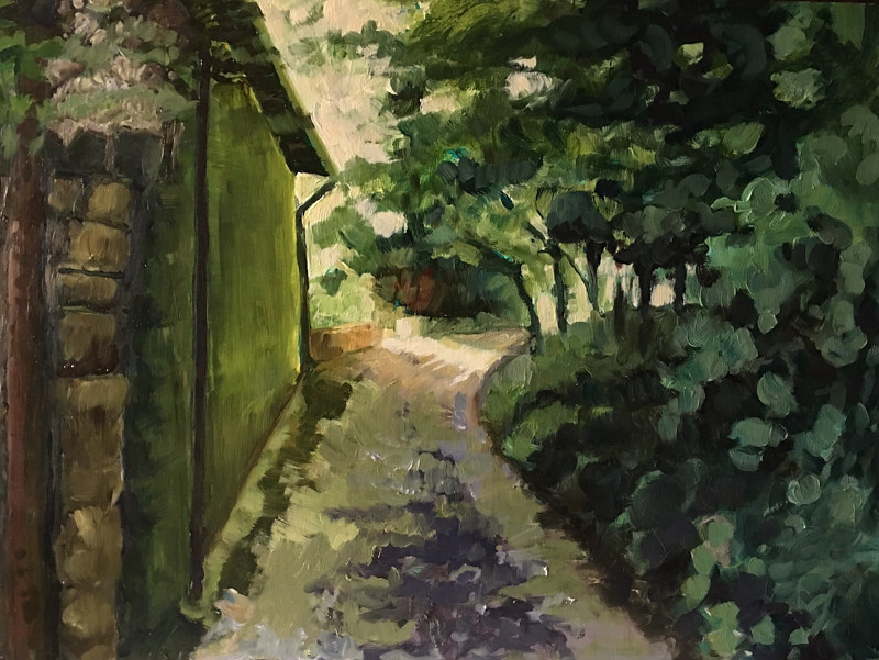 Oil painting Day5 Monica's Path 6pm by Edie Marshall