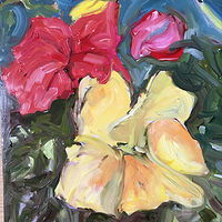 Oil painting Red & Yellow  by Edie Marshall