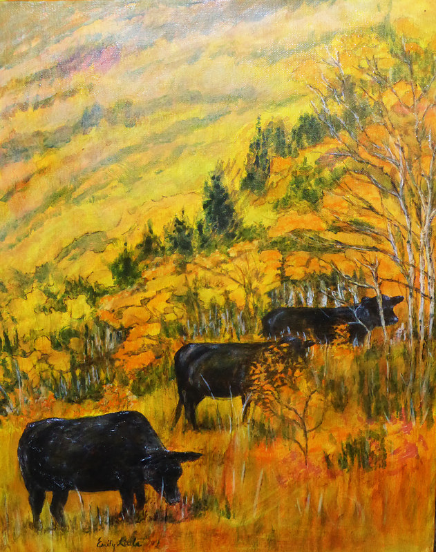Acrylic painting Angus Trio by Emily Little by Passionate Painters