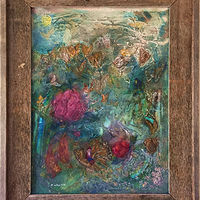 Mixed-media artwork Butterfly Blitz_framed by Eveline Wallace