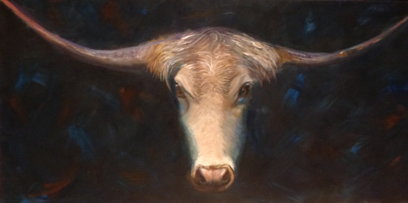Oil painting Longhorn by Jeanne Urban by Passionate Painters