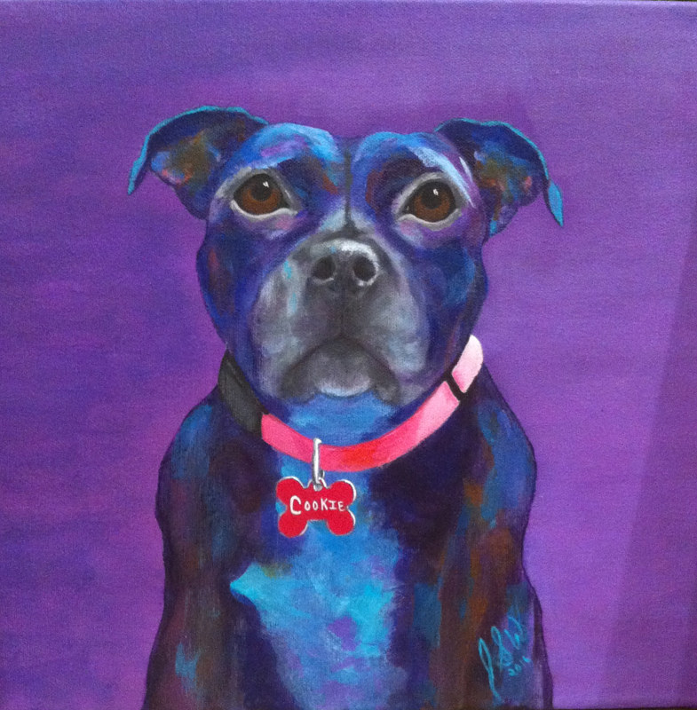 "Acrylic painting ""COOKIE"" by Jacqueline Sabourin Warketin by Passionate Painters"