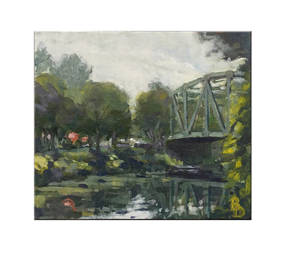 Acrylic painting Pittsford Bridge by Bernard Dick