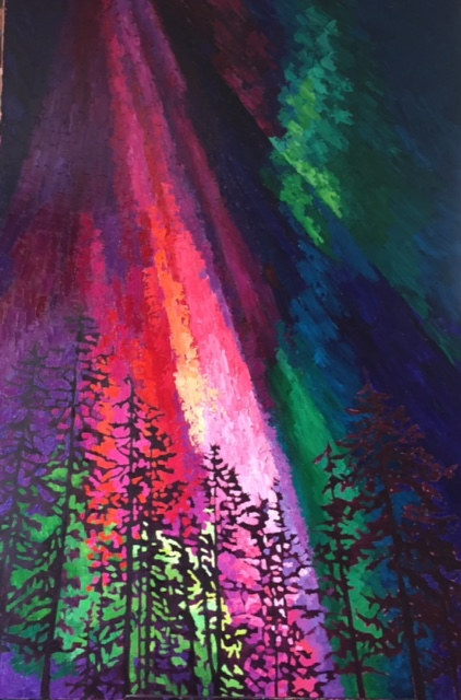 Oil painting Red Aurora by Diana Harris by Passionate Painters