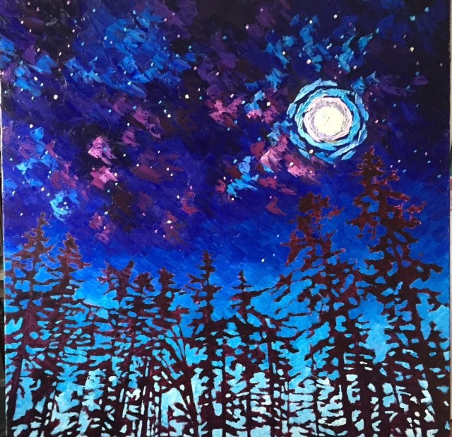 Oil painting Starry night by Diana Harris by Passionate Painters