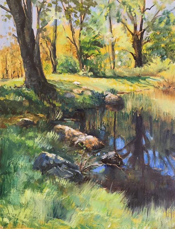 Oil painting South End Ball Pond, New Fairfield by Elizabeth4361 Medeiros