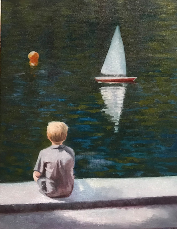 Oil painting Toy Boats Central Park by Diana Harris by Passionate Painters