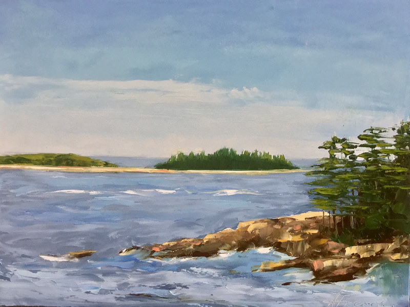 "Oil painting ""Birch Harbor"" by Anne French"