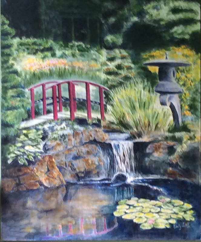 Acrylic painting Japanese Garden by Emily Little by Passionate Painters