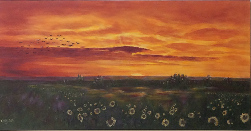 Acrylic painting Prairie Sunset by Emily Little by Passionate Painters