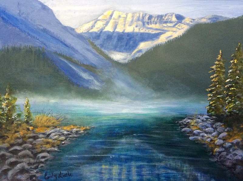 Acrylic painting Misty Grandeur by Emily Little by Passionate Painters