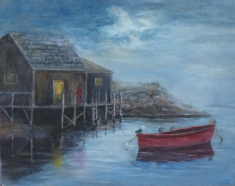 Acrylic painting Red Boat in the Mist by Emily Little by Passionate Painters