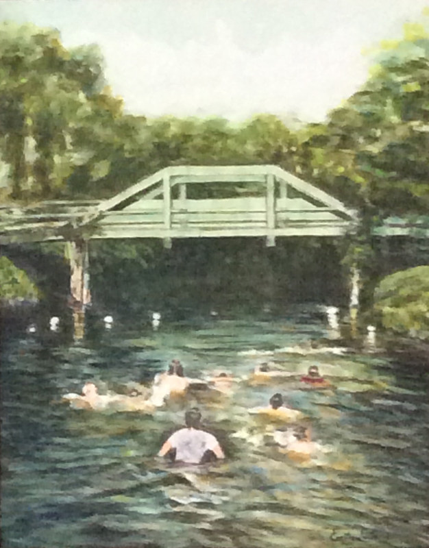 Acrylic painting Water under the Bridge by Passionate Painters