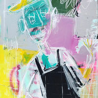 Mixed-media artwork Man with the Yellow Hat by Sarah Trundle