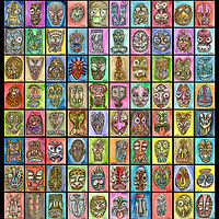 Watercolor 100 tiki poster 4 web by Kenneth M Ruzic