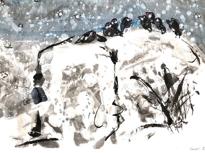 Watercolor Birds on a Rock by Catherine Mansell