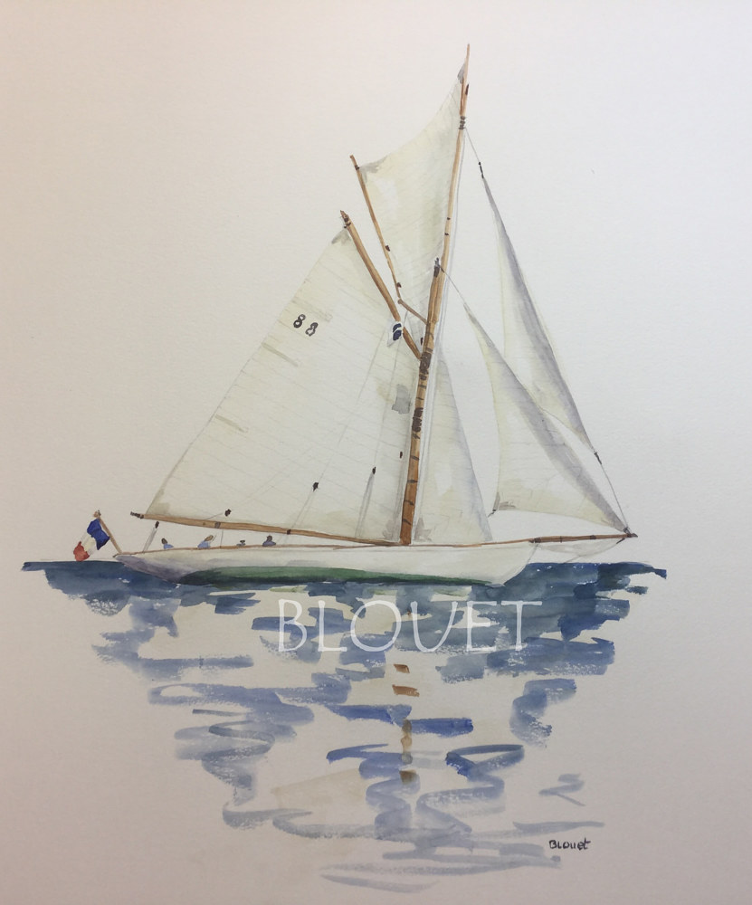 Watercolor Sails # 3 by Sophie Dassonville