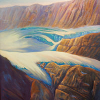 Oil painting Crowfoot Glacier by Brent Ciccone