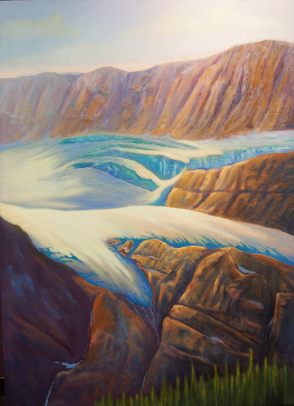Oil painting Crowfoot Glacier by Passionate Painters