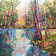 Acrylic painting Creekside Reflection by Marty Husted