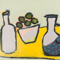 Mixed-media artwork Limes with Polka Dot Pitcher by Sarah Trundle