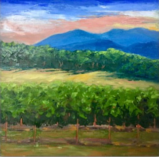 "Oil painting  ""Vineyard Sunset"" by Anne French"
