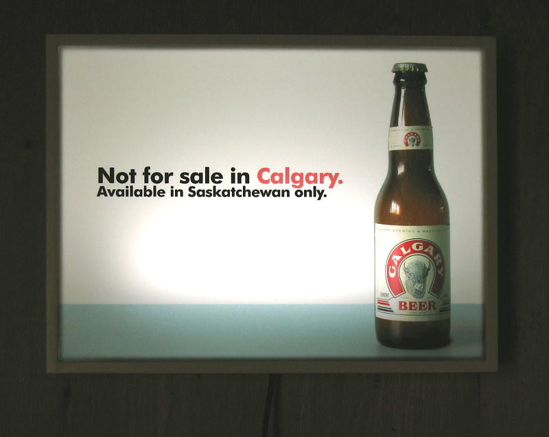 Acrylic painting Calgary Beer- lighted beer sign by John Greg Ball