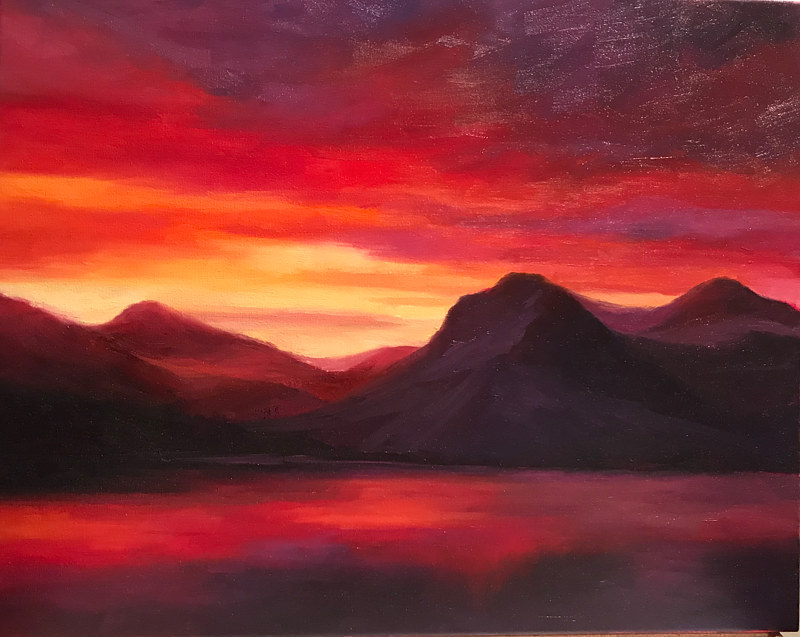 Oil painting Red Sky by Diana Harris by Passionate Painters