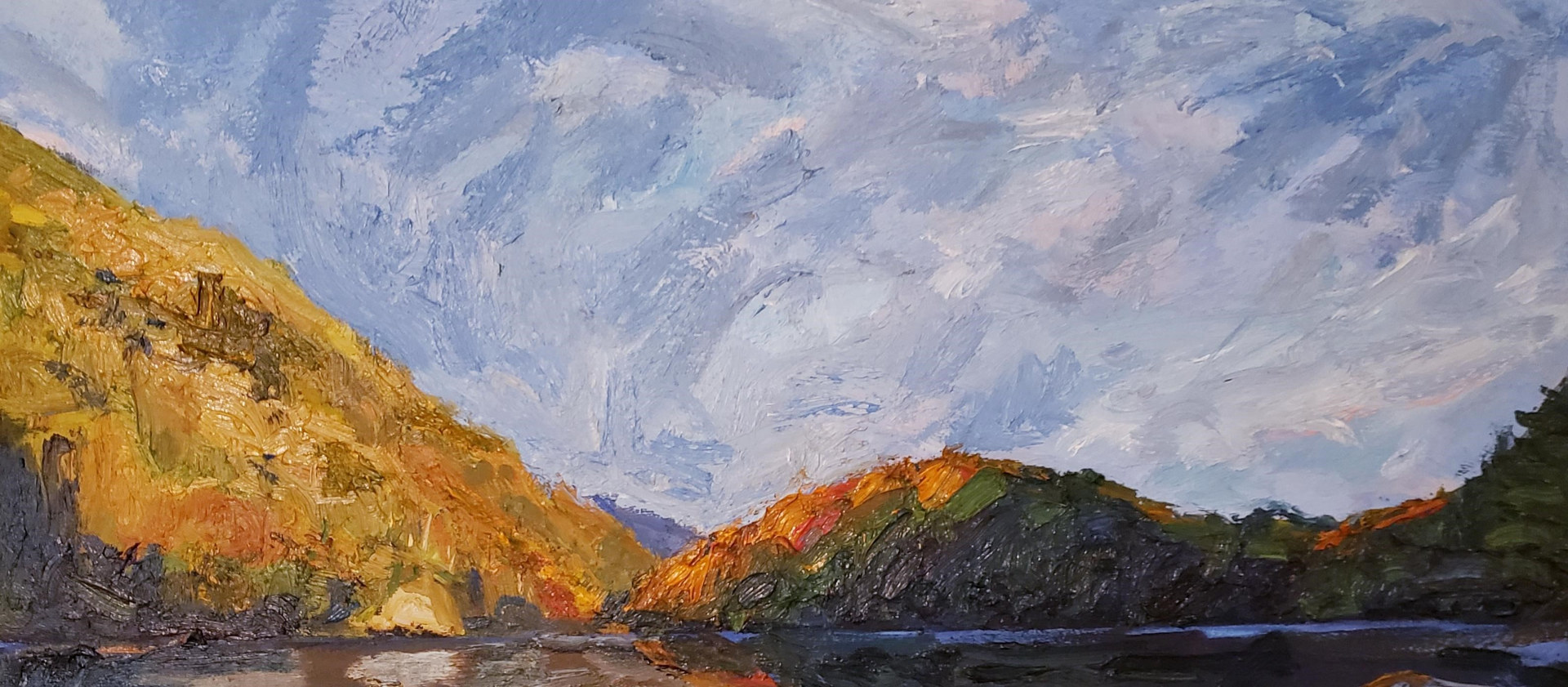 Painting Here Comes the Sun 12x28 oil by Michael Gaudreau