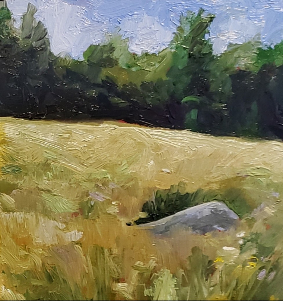 Painting Meadow#3  6x6in oil by Michael Gaudreau