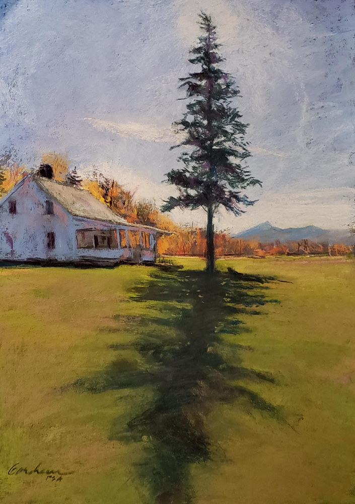 Painting Long Shadow at Holt House 11x17 pastel by Michael Gaudreau